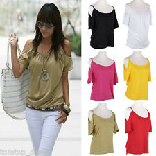 Womens Ladies Strap Off Shoulder Tee Loose T Shirt Blouse Top Sexy Summer Vest