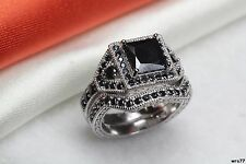 Brand New Engagement Wedding Ring Set- Black Princess Cut 925 Sterling Silver