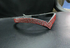 BLING! Diamante*English Leather Sparkly V Browband*4-Row RED Crystals*All Sizes