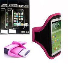 Pink Sport Armband Case Cover + 3x Screen Protector Film FOR Samsung Phones 2015