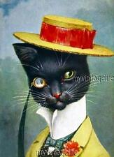 Vintage Handsome Dapper Cat in a Hat Quilting Fabric Block