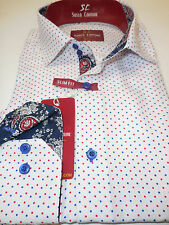 Mens White w/ Polka Dot & Paisley Trendy Fitted Clubbing Shirt Suslo Couture M23