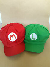 Super Mario Bros Mario & Luigi Caps Adult Teenagers Hat Costume Fancy Dress