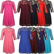 New Womens Plus Size 3/4 Sleeve Floral Lace Shift Dress 10-24