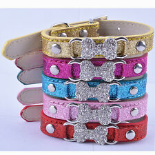 Small Dog Collar Desinger Rhinestone Bone Collar Charm Leather Adjustable Collar