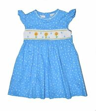 NWT Carriage Boutique Blue Sunflower Hand Smocked Dress 3 6 9 12 18 24 2T 3T 4T