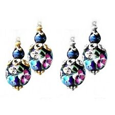 Earrings, Dark Blue Lampwork antique gold petite drop - clip on or pierced