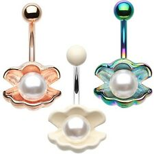 Shell Pearl Rose Gold Rainbow White Belly Ring Navel Dangle CZ Body Jewelry Sexy