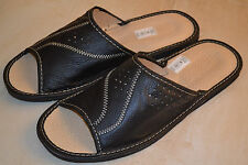 Mens Genuine Leather Slippers Shoes Sandals Black Handmade In Poland Orthopaedic
