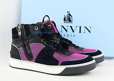 LANVIN BLACK BLUE ROSE LEATHER SUEDE RUBBER SOLE SHOES ZIPPER SNEAKERS ITALY #5
