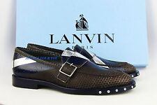 LANVIN FANTASTIC 100% PYTHON & LEATHER SOLE WITH SCREWES SHOES NEW BOX ITALY # 3