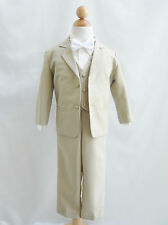 Baby toddler teen boy khaki/taupe/ivory color bow  tie formal suit wedding party
