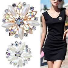 New Women Pearl Brooch Pin Rhinestone Flower Bouquet Crystal Wedding Bridal