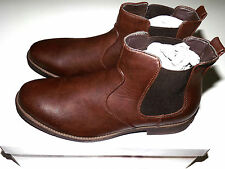 Mens Tan Brown Synthetic Leather Slip On Chelsea Ankle Boots Sizes UK 7-12