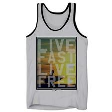 California Live Fast Live Free Surfing Holiday Beach Bum Mens Low Cut Vest