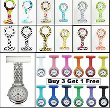 Brand New Fashion Silicone Nurses Brooch Tunic Fob Watch New With FREE BATTERY