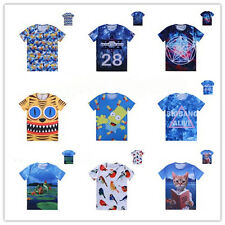 New Mens Women's 3D Space Galaxy Skull Floral Figure Tee Round Top T-Shirts T146