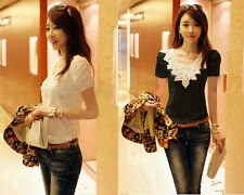 New Sexy Womens Short Sleeve Lace V-Neck Casual Tee Shirt Tops T-Shirts Blouse