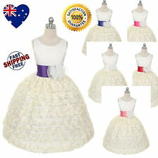 New Ivory Flower Girl Dress Floral Pattern Lace Party Girls Dress Size 4 to 12