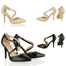 Womens ladies High heel cross straps buckle snake office formal court shoes size