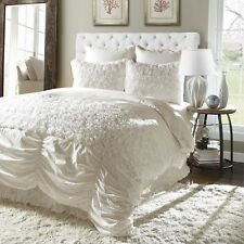 BEAUTIFUL LUXURIOUS CHIC IVORY WHITE BOW RUFFLED RUCHED TEXTURED COMFORTER SET