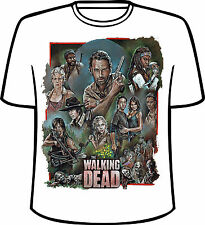 Many Tee Colors-The Walking Dead Colorful Group Drawing T-Shirt
