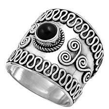 Sterling Silver Black Onyx Tribal Swirl Bali Band Ring RP410