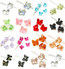 Lots 10Pcs Charms Crystal Glass Butterfly Loose Spacer Beads Finding DIY 8x5mm