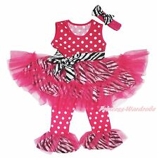 Hot Pink Dots Girl Vest Top Zebra Dance Ruffle Tutu Dress Pants Outfit Set 1-8Y