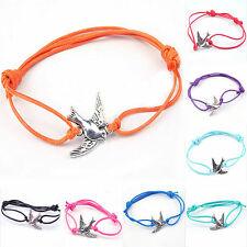 Stylish Peace Dove With Rope Cute Charms Leather Jewelry Findings Bracelets DIY