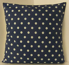 NEW SINGLE CUSHION COVERS SPOTTED RETRO 60s STYLE NAVY BLUE POLKA DOT  SPOTS