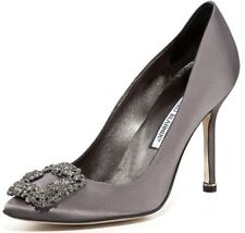 $965 NEW MANOLO BLAHNIK HANGISI Grey Satin JEWELED Pumps SHOES 40.5