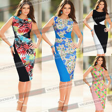 Women Elegant Colorblock Patchwork Tropical Print Wear to Work Bodycon Dress 595