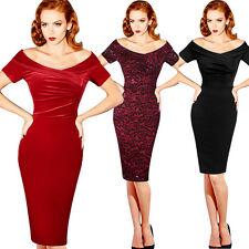 Women Elegant Vintage Floral Ruched Off Shoulder Party Cocktail Wiggle Dress 500