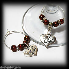 Beautiful Chocolate wedding wine glass charms for top table or favours. decor