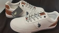 U.S. Polo Assn. Men's Helm In CT. WHITE-TAN Canvas Sneakers (MG68)FAST SHIPPING