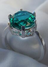 New Green Amethyst Round Solitaire Sterling Silver Ring - Size 7, 8 & 9