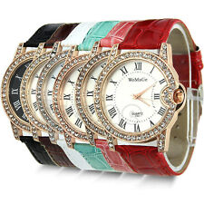 Womens Ladies Quartz Wrist Crystal Leather Watch Sport Rhinestone Classic Dial