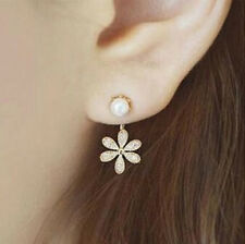 New Women Korea Vintage Pearl Ear Stud Rhinestone Crystal Flower Dangle Earrings