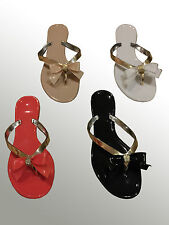 WOMENS LADIES TOE BOW DIAMANTE JELLY SUMMER FLAT FLIP FLOP THONG SANDALS SIZE