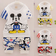 2pcs Toddlers Boy Clothing Mickey mouse Children Short Sleeve T-Shirt Pants Sets