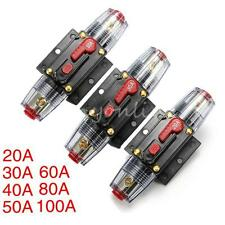20 30 50 60 80 100A AMP Car Audio Inline Circuit Breaker Fuse Holder DC12v-24v