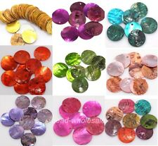2015 Wholesale 50pcs Mussel Shell Flat Round Coin Charm Beads 18mm U Pick Color
