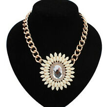Occident style Fashion luxury crystal sun flower gem necklace