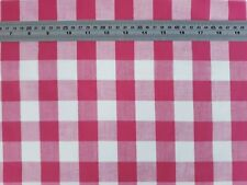 Dressmaking-Craft-Doll-LARGE PINK GINGHAM POLY COTTON FABRIC-Metres-SEWING BEE