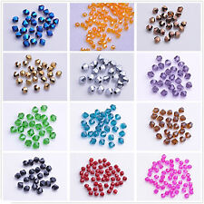 Wholesale 100Pcs Clear Faceted Bicone Crystal Glass Loose Spacer Bead Making 4mm