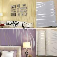 10M 3D Roll Simple Style Waves Stripes Embossed Textured Flocking Wallpaper