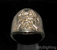 BRONZE MEN'S ZODIAC RING STAR SIGN GEMINI HIGH POLISHED ANY SIZE