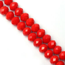 Lots 20/50Pcs Red Rondelle Faceted Crystal Glass Loose Spacer Bead Making 8/10mm