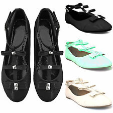 NEW WOMENS T BAR STRAP FLAT BALLERINA BOW PUMPS LADIES BALLET DOLLY LOOK SHOES